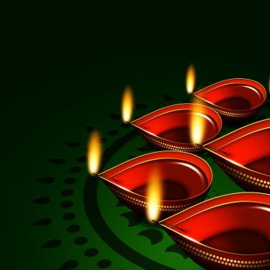 Diwali oil lamps over dark green background with place for text stock vector