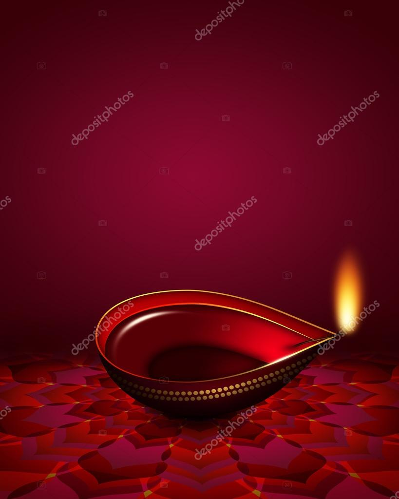 diwali oil lamp over dark red background