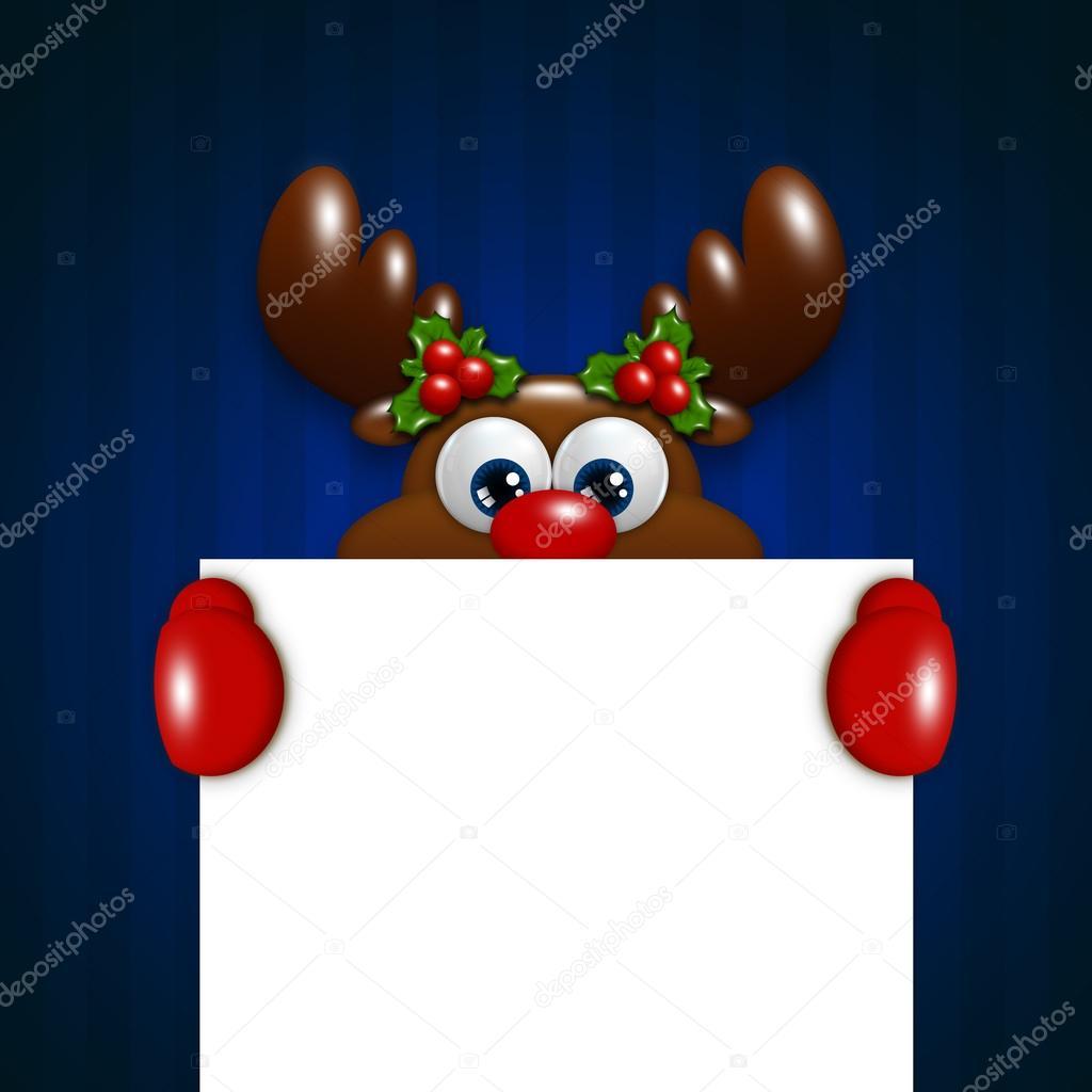 Christmas reindeer holding blank over blue background
