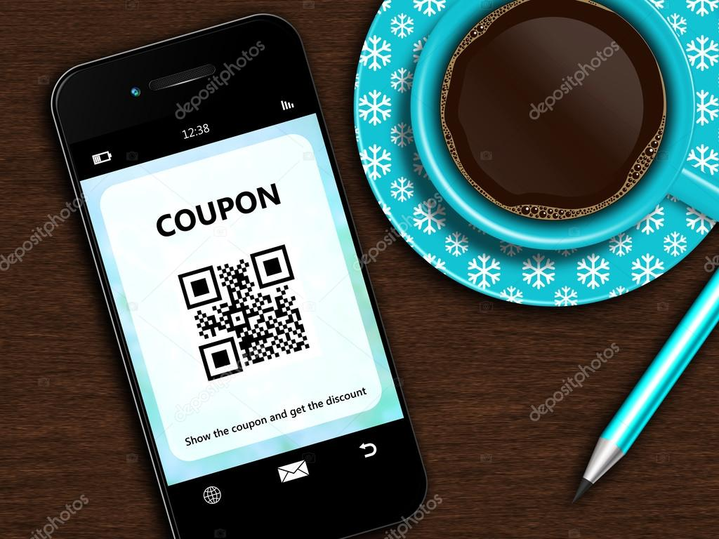 mobile phone with christmas coupon, cup of coffee and pencil