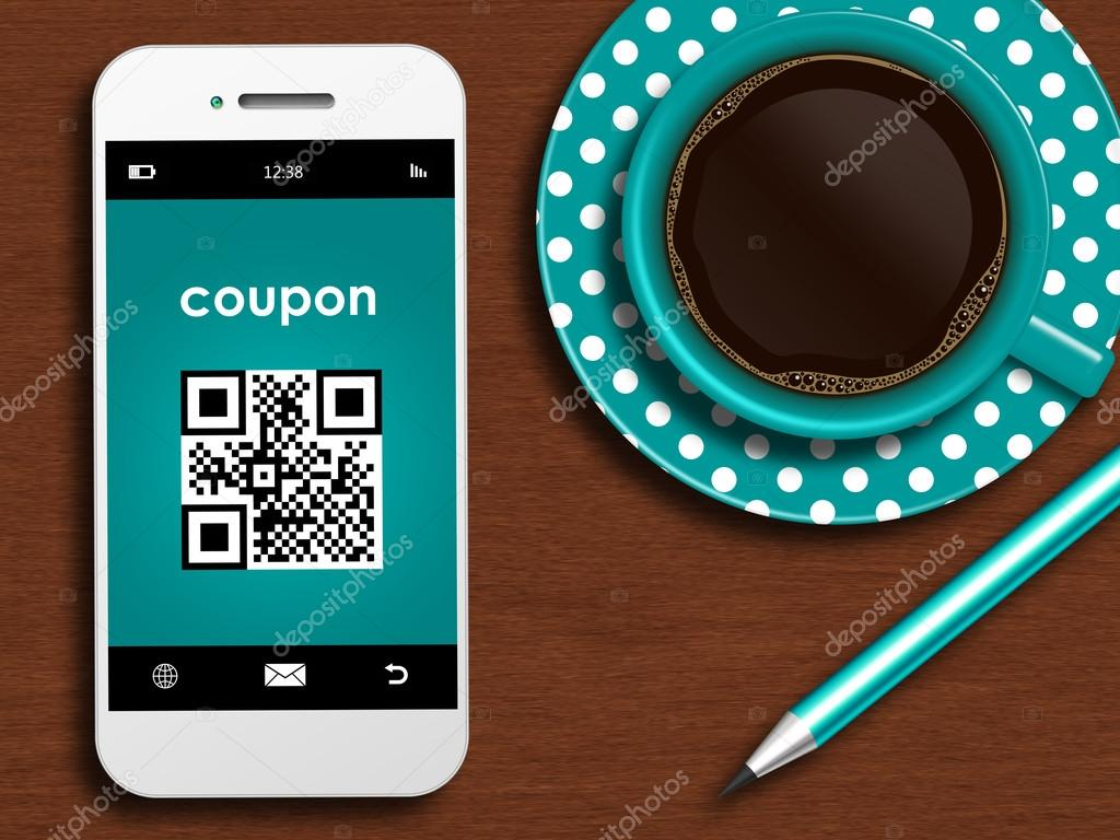 Mobile Phone With Discount Coupon Cup Of Coffee And Pencil Lyin