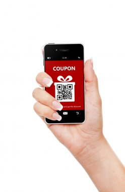 hand holding mobile phone with christmas coupon isolated over wh