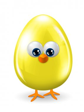 yellow easter egg with eyes, beak and legs isolated over white b