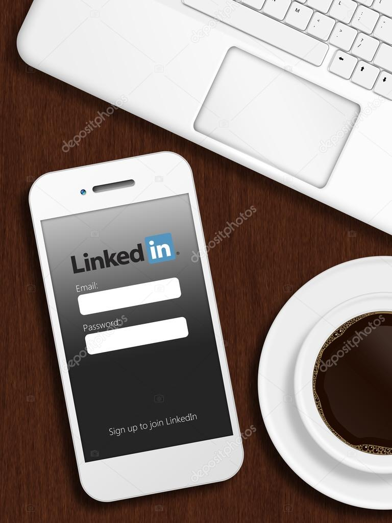 Gdansk, Poland - October 24, 2014: mobile phone with linkedin lo
