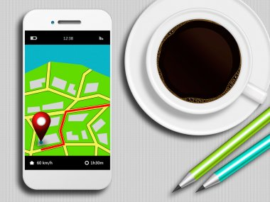 Mobile phone with gps application, coffee and pencils lying on t