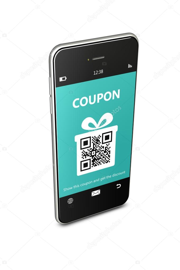 Mobile Phone With Discount Coupon Over White Stock Photo C Ayo888