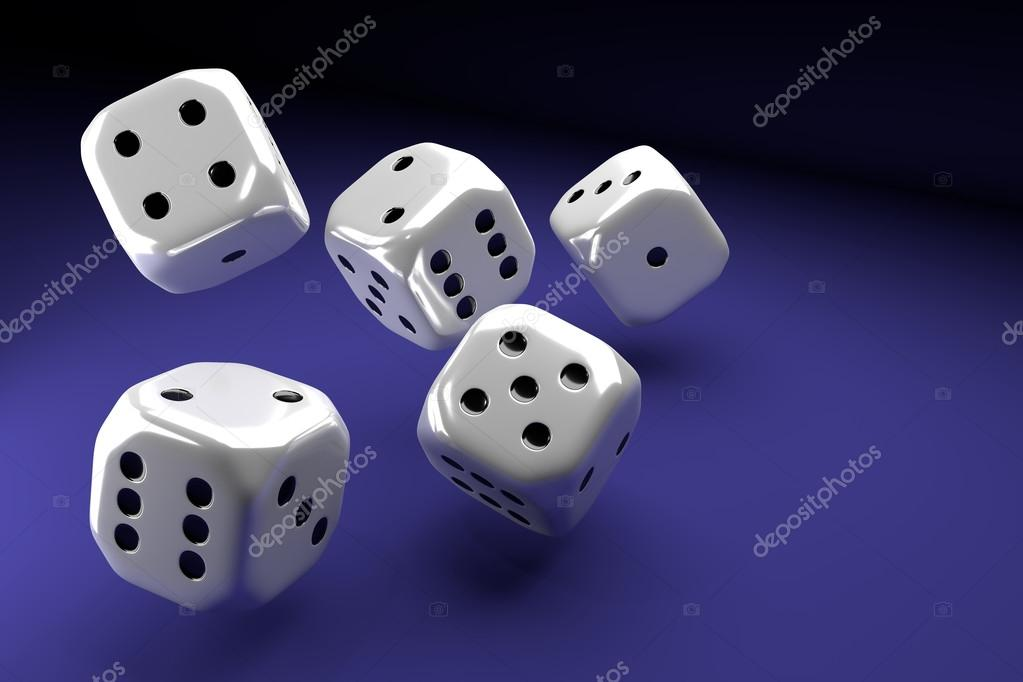 white dice set on violet background