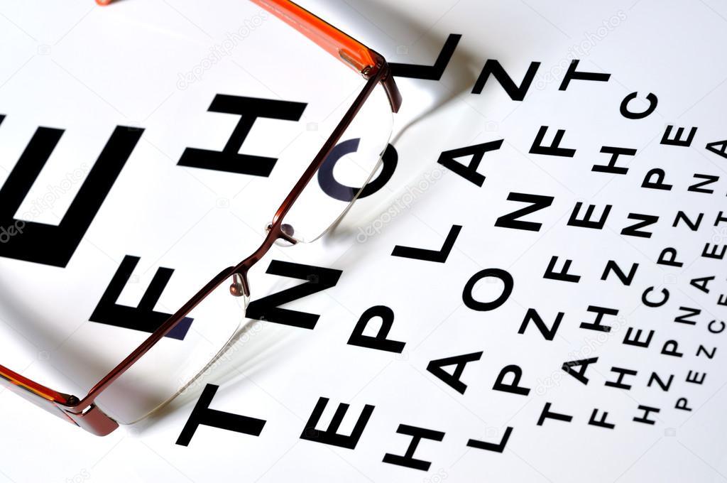 Glasses Abd Test Chart Stock Photo