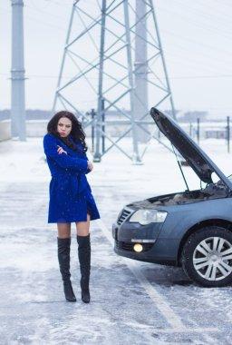 Frozen woman waits for roadside assistance