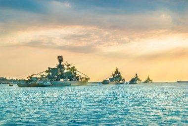 Military navy ships in sea bay