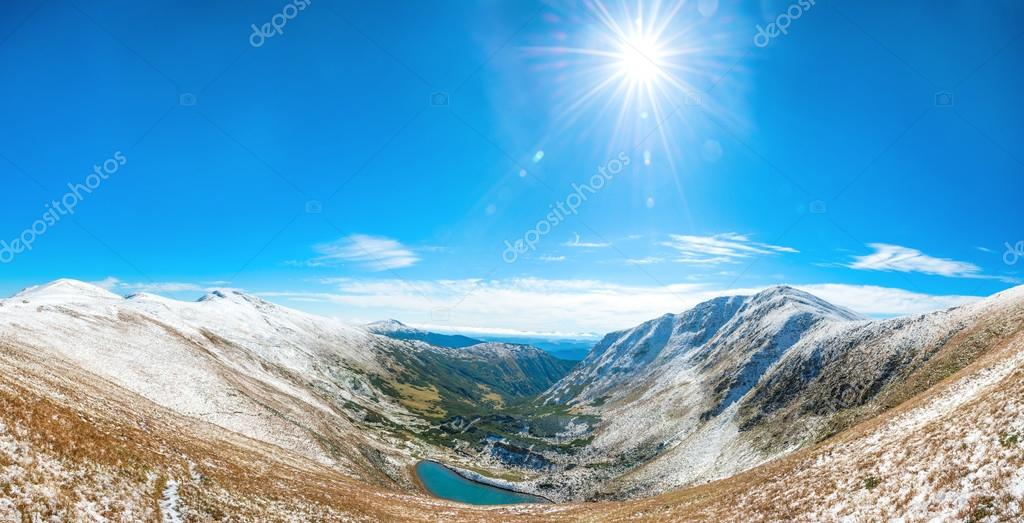 Panorama of white mountains