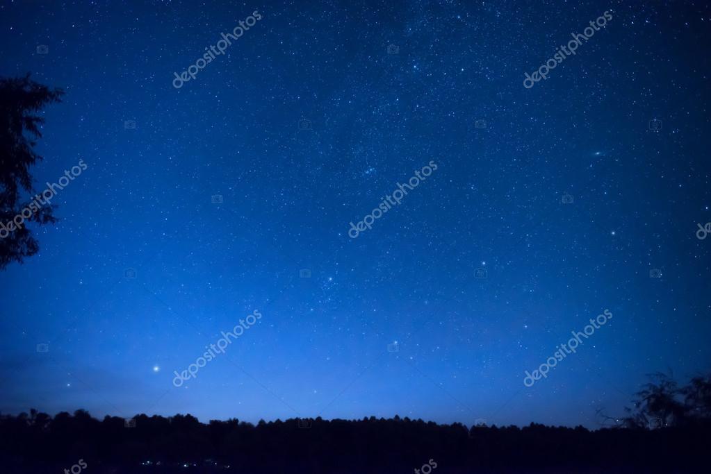 blue night sky with many stars