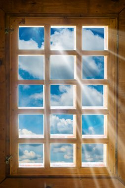 Wooden window with beautiful view