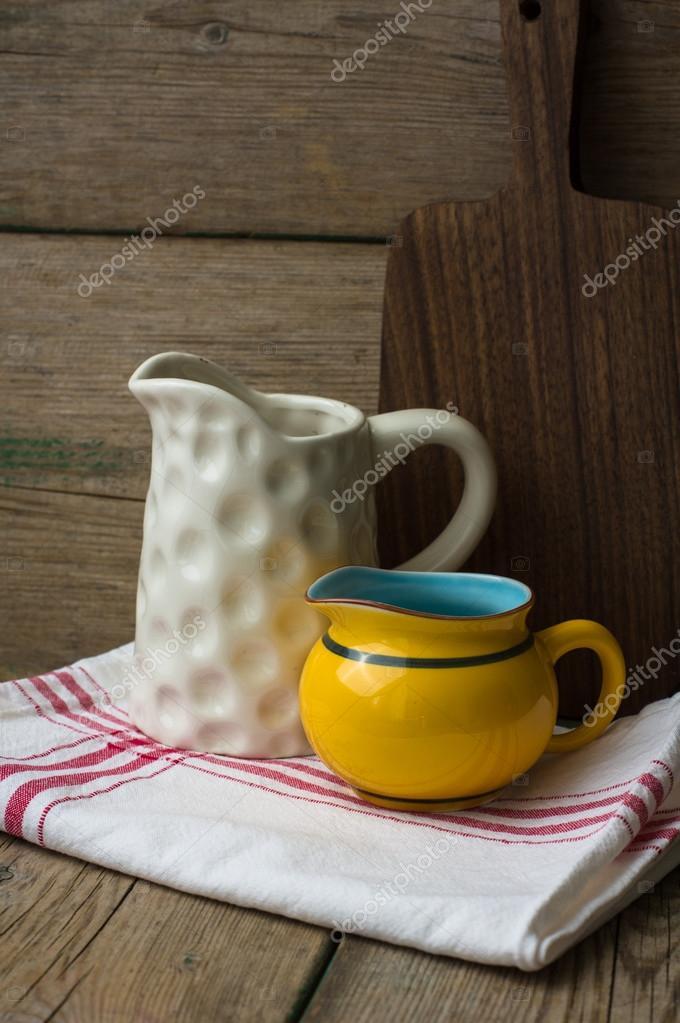 Vintage Kitchenware On Rustic Kitchen U2014 Stock Photo