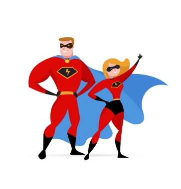 Super hero couple - woman and man