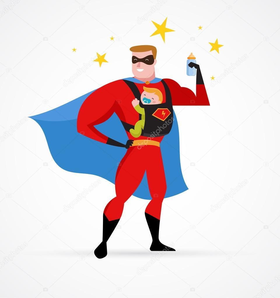 Papa de super h ros en costume de super h ros avec le transporteur et le b b image - Image de super hero ...