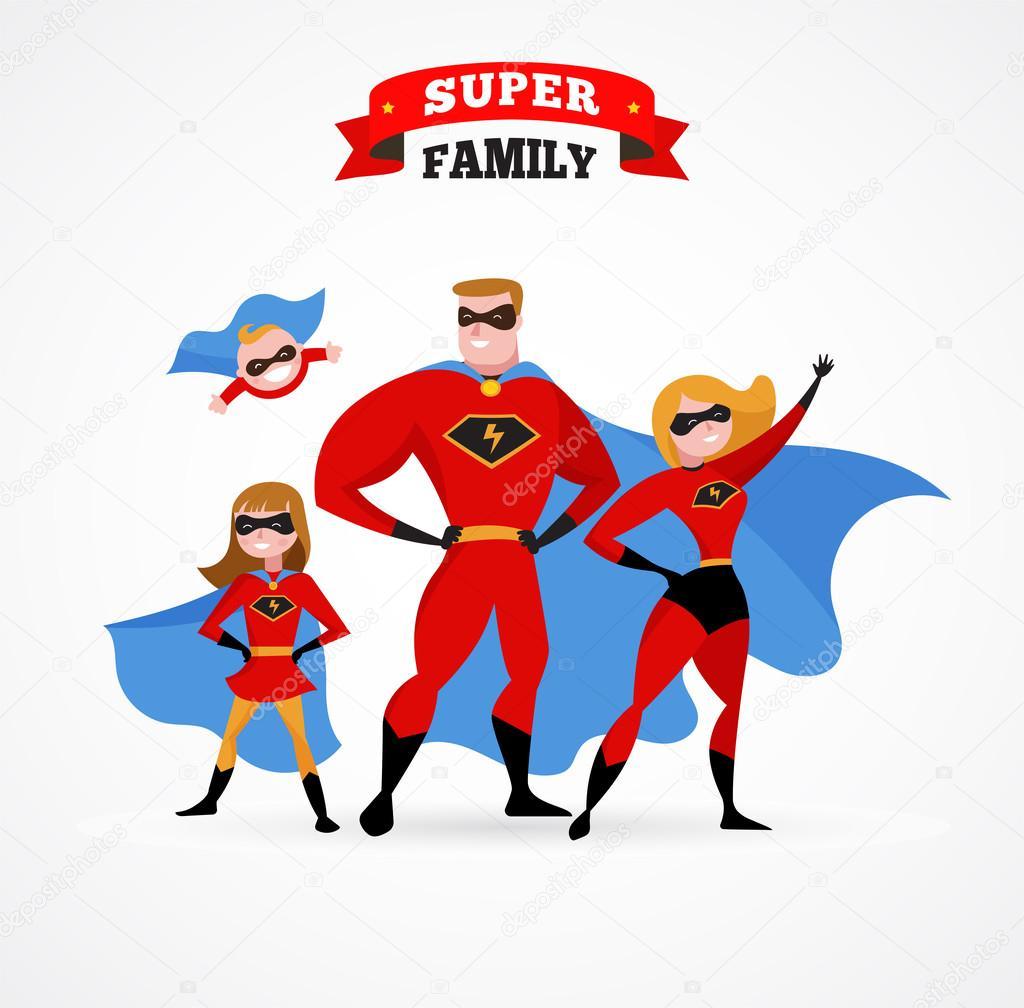 Célèbre de super héros - maman, papa et les enfants — Image vectorielle  OL47