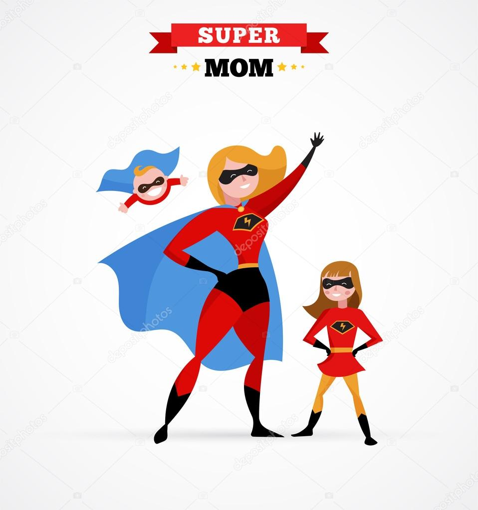 Célèbre mère de héros en costume de super héros, maman avec enfants  OL47