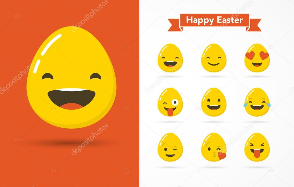 Emoticon Happy Easter Eggs Icons Set Greeting Card Face On A White Background Icon Different Emotions Collection Flat Design