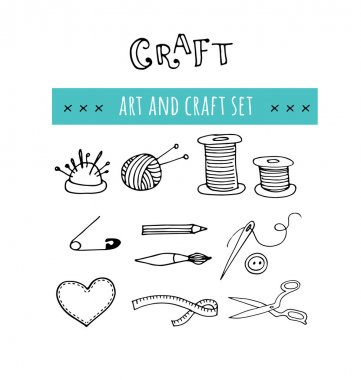 Handmade, crafts workshop icons. Hand drawn illustrations