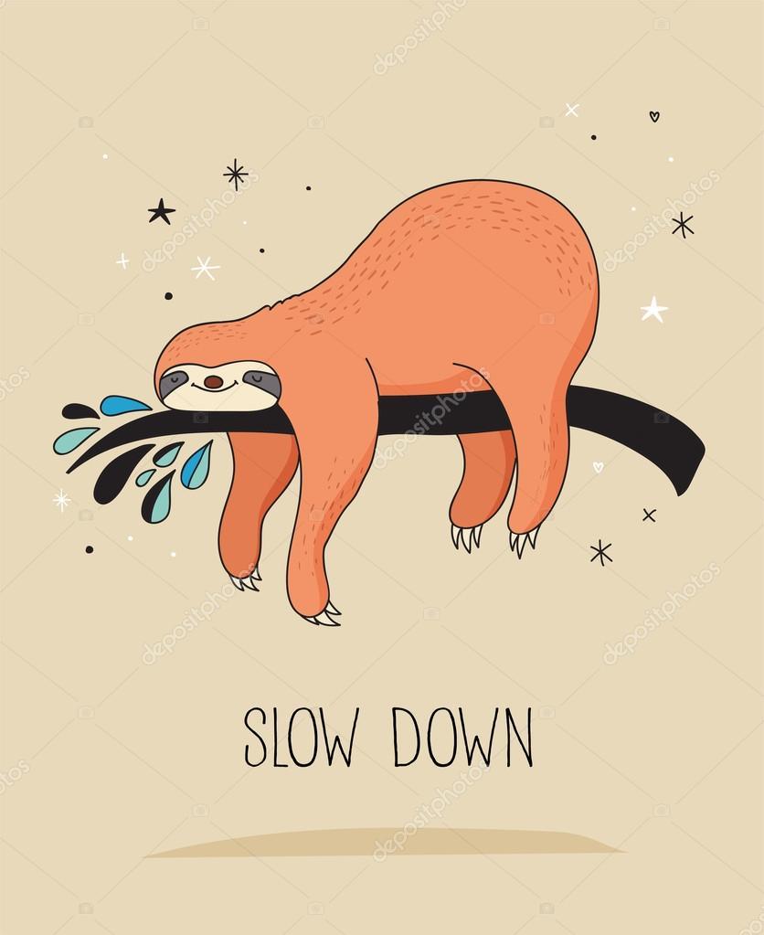 かわいい手描きナマケモノのイラスト、面白いベクトル カード デザイン