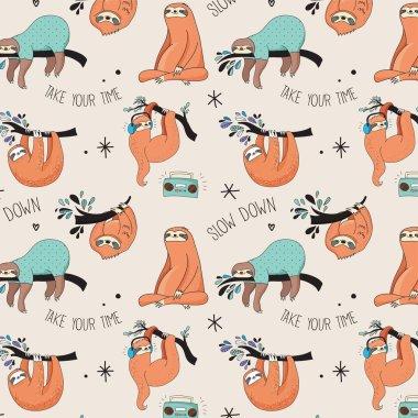 Cute hand drawn sloths illustrations, seamless pattern
