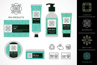 Set of natural cosmetics design packaging, icons