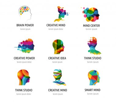 Brain, Creative mind, learning and design icons. Man head, people symbols