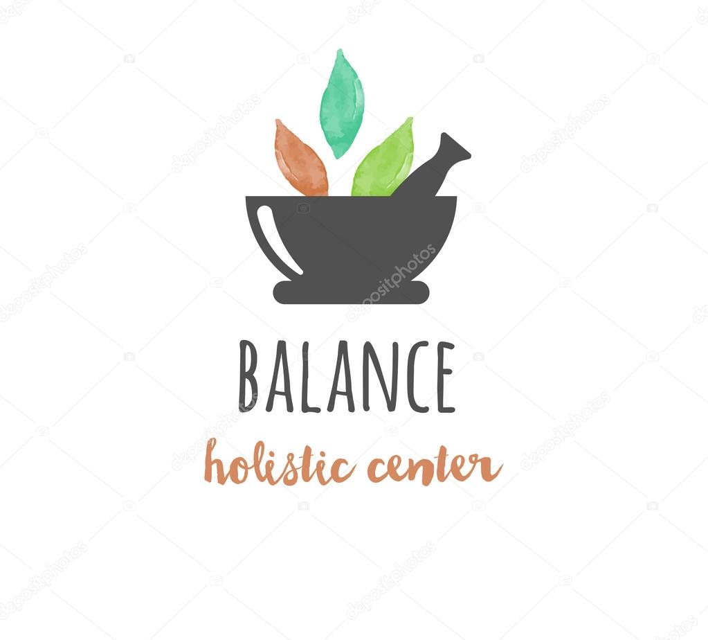 Alternative medicine and wellness, yoga, zen meditation concept - vector watercolor icon, logo