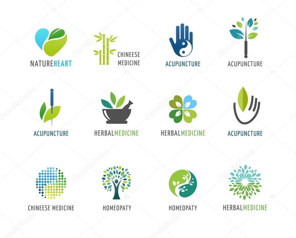 Alternative, Chinese medicine and wellness, yoga, zen meditation concept - vector icons, logos