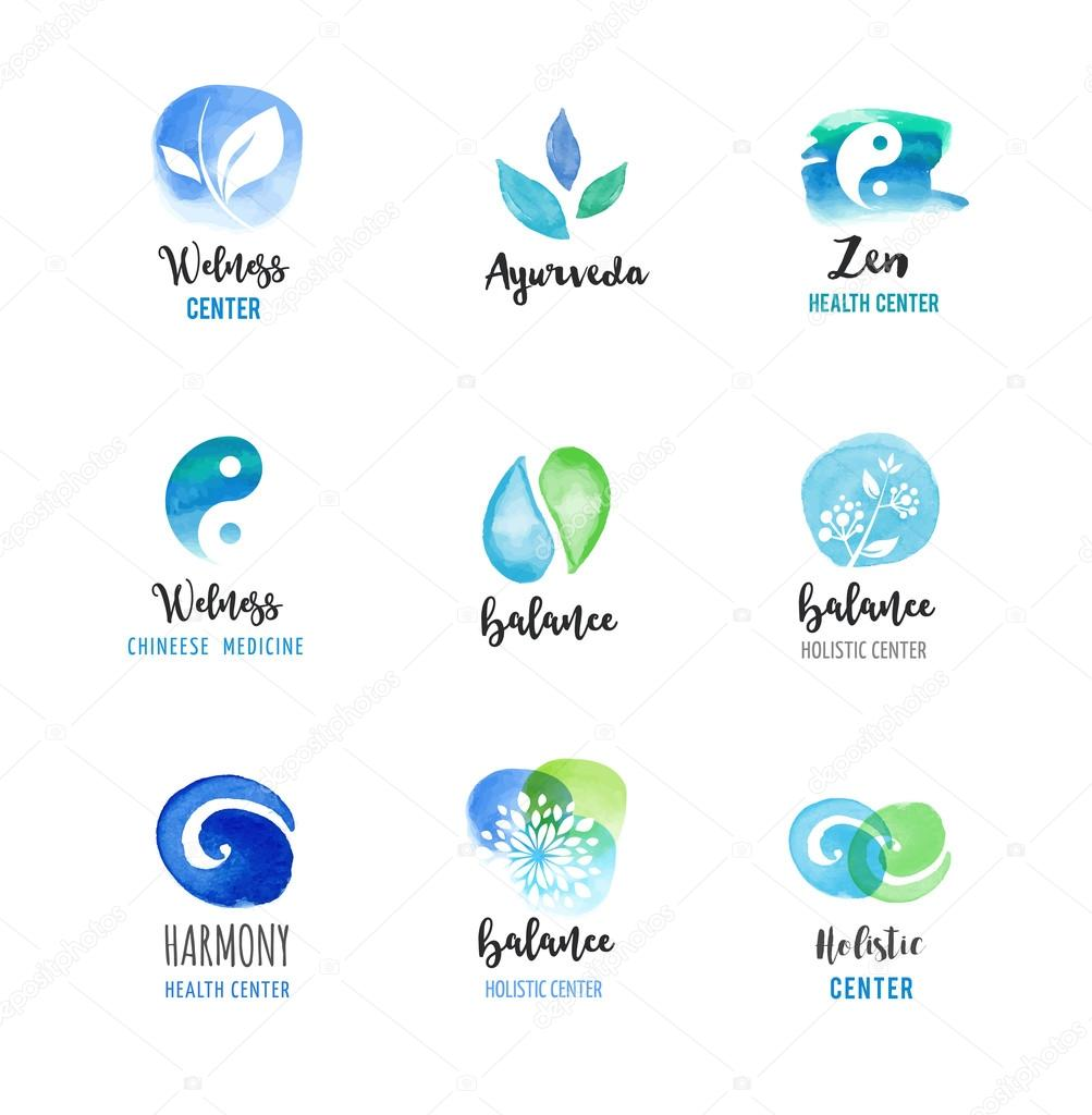 Alternative medicine and wellness, yoga, zen meditation concept - vector watercolor icons, logos
