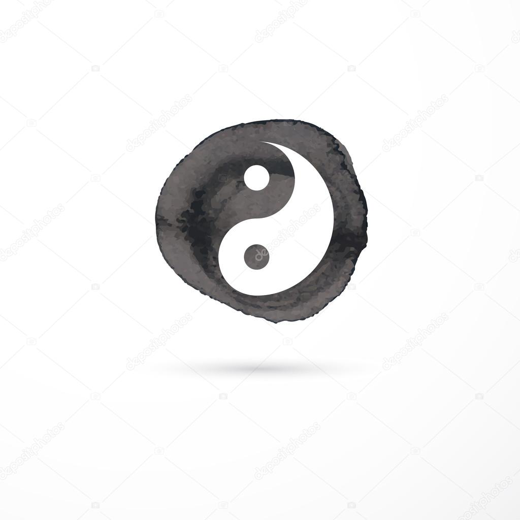 Alternative medicine and martial, yin yang concept - vector watercolor icon