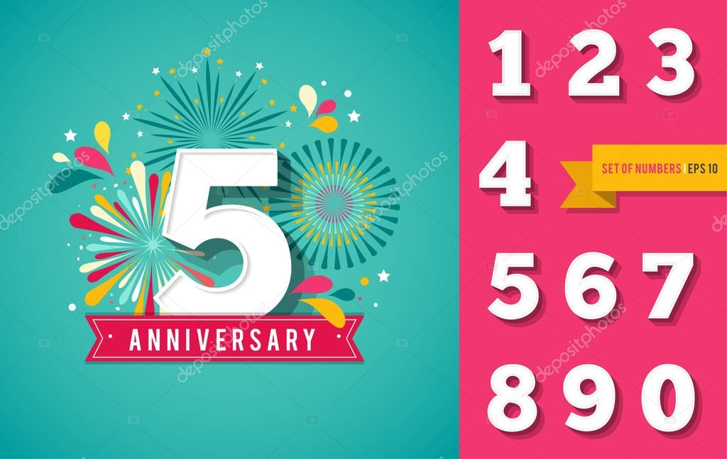 anniversary fireworks and celebration background set of numbers stock vector