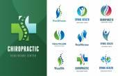 Fotografia Chiropratica, massaggio, dolore alla schiena e icone di osteopatia