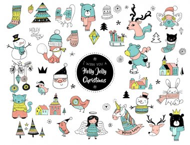 Christmas hand drawn cute doodles, stickers, illustrations and elements