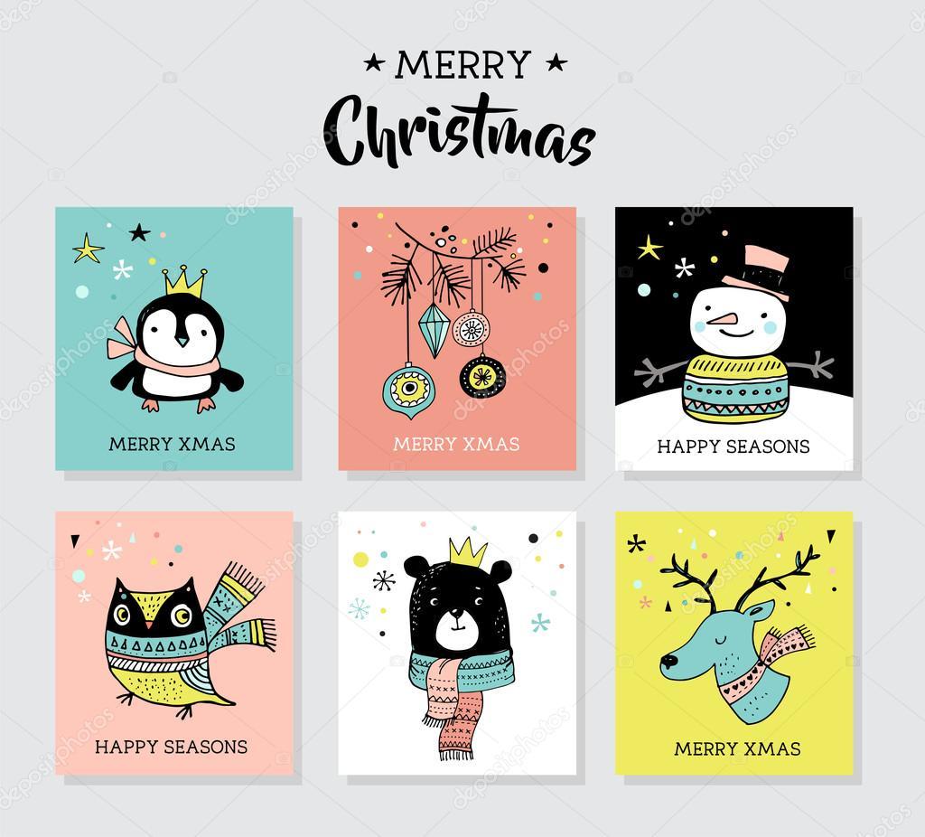 クリスマス手描きかわいい落書き、イラストやペンギン、クマ、鹿