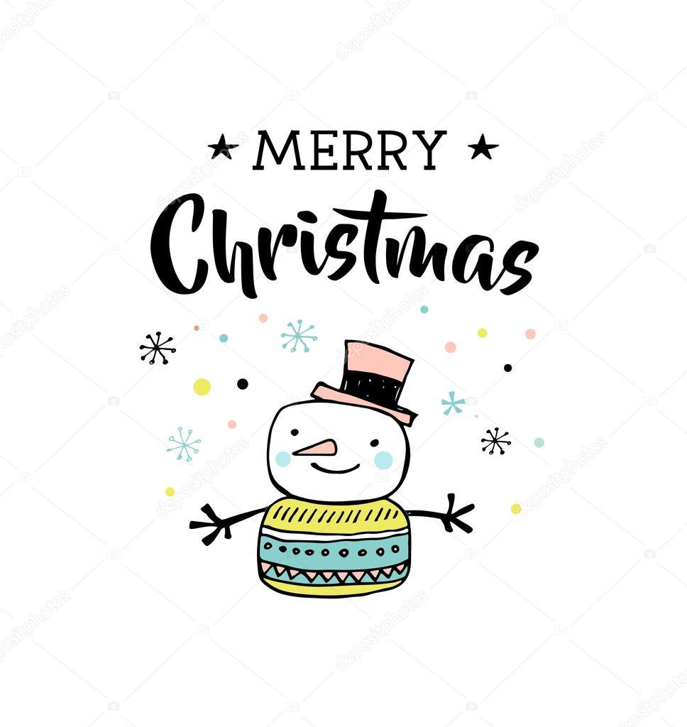 Frohe handgezeichneten Weihnachten niedlich Doodle, Illustration und ...