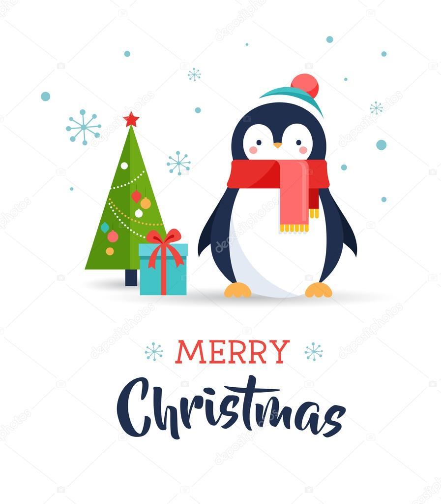 Cute Penguin Merry Christmas Greeting Card Stock Vector Marish