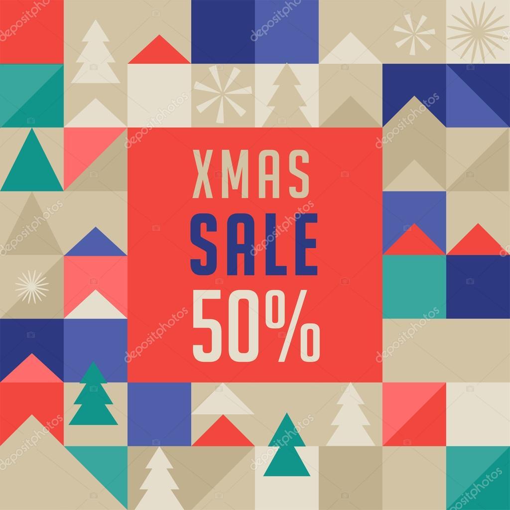 Joyeux Noël Abstrait Géométrique Affiche De La Vente