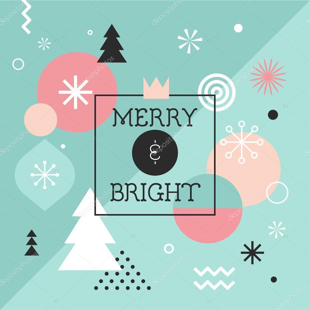 Joyeux Noël Abstrait Géométrique Affiche Thème Et Motif