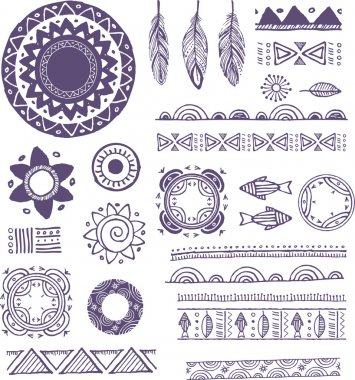 Tribal, Bohemian Mandala background with round ornaments, patterns and elements