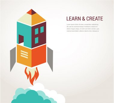 Education rocket, online learning, concept infographic