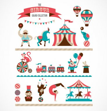 Vintage hipster circus collection with carnival, fun fair, vector icons and background and illustration stock vector