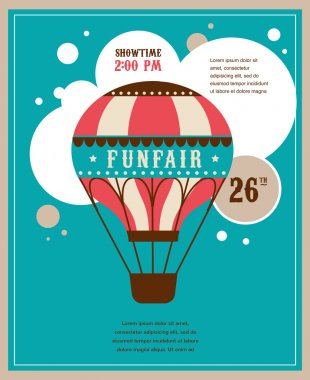 vintage poster with vintage air balloon, fun fair, circus vector background