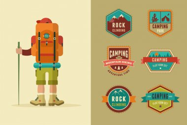 Hiking, camp badges - set of icons and elements. Vector backpacker poster