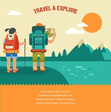 Vector vintage background with backpackers, forest, hills and mountains