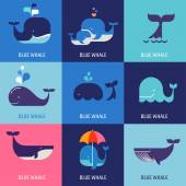 Collection of vector whale icons