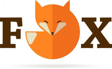Fox sign, illustration and element. Vector icon stock vector