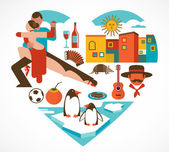Fotografie Argentina love - heart with a set of icons