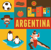 Fotografie Argentina poster and background with set of icons
